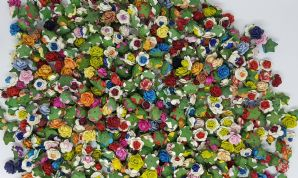 1.5cm ASSORTED COLOUR Mulberry Paper Roses (only flower head)